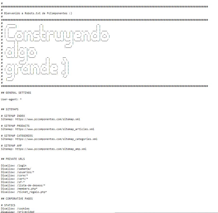 ejemplo robots txt pccomponentes